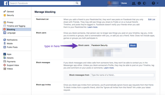 manage blocking setting on facebook